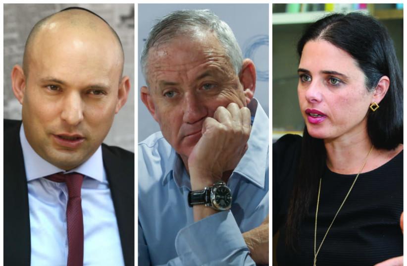 Naftali Bennett (L), Benny Gantz (C) and Ayelet Shaked (R) (photo credit: MARC ISRAEL SELLEM/THE JERUSALEM POST)