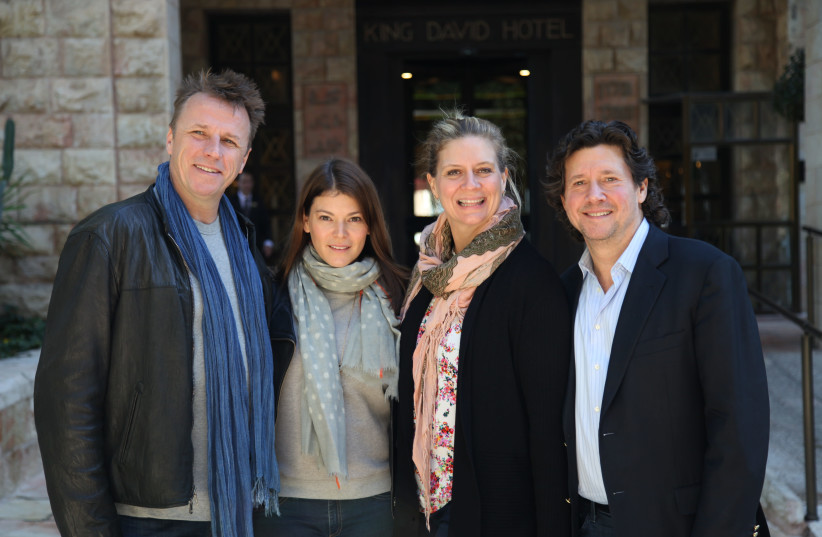Marc Murphy, Gail Simmons, Amanda Freitag and Herb Karlitz pose for a photo in Jerusalem on Tuesday (photo credit: YUVAL REVACH)