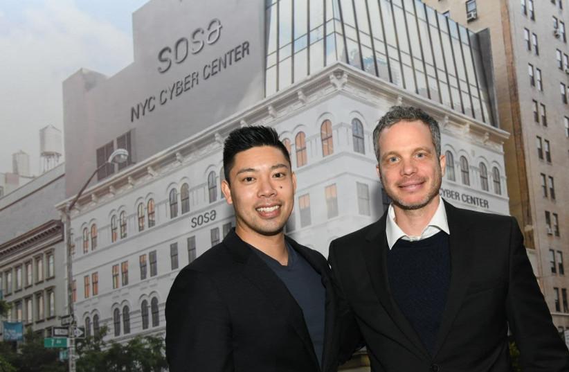Cyber NYC Managing Director Wilson Lin (L) and SOSA CEO Uzi Scheffer  (photo credit: ISRAEL HADARI)