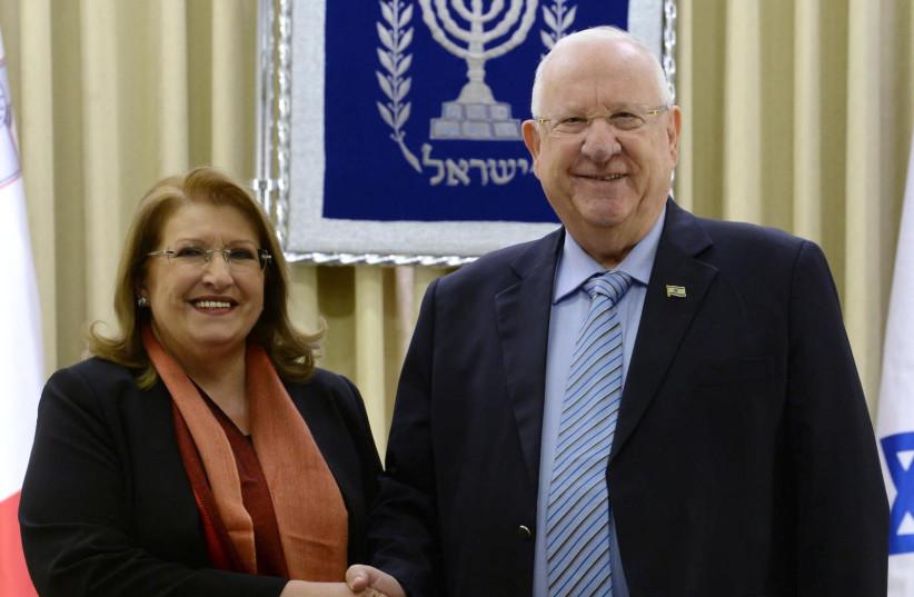 President Rivlin with President Marie-Louise Coleiro Preca of Malta  (photo credit: Mark Neiman/GPO)