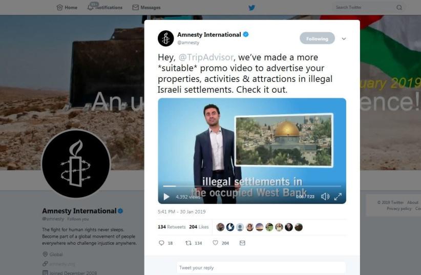Amnesty International's video, released January 30th, 2019 (photo credit: screenshot)