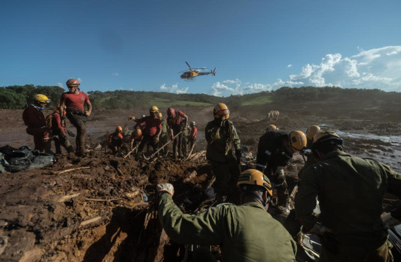 The IDF delegation helping recover bodies after a dam disaster in Brazil  (photo credit: IDF SPOKESPERSON'S UNIT)