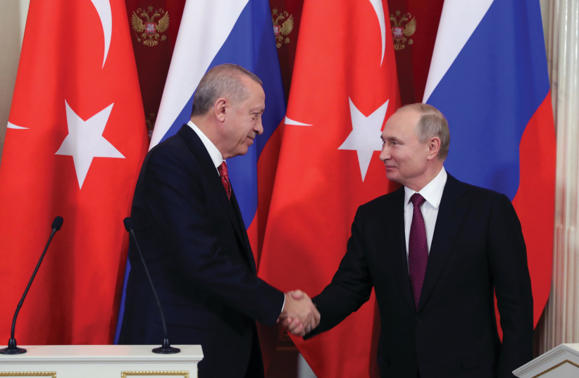 RUSSIAN PRESIDENT Vladimir Putin meets with Turkey's President Recep Tayyip Erdogan. (photo credit: REUTERS)