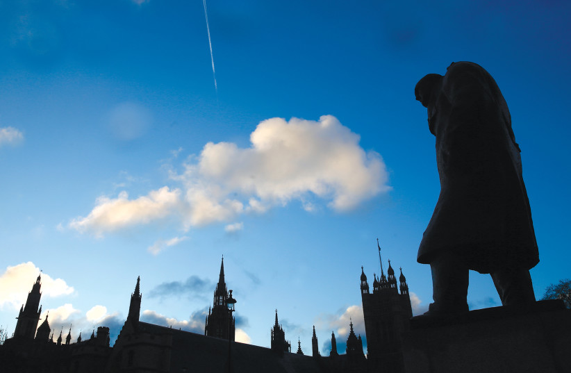A statue of Winston Churchill in the UK. Can we learn from his desire for victory? (photo credit: REUTERS)