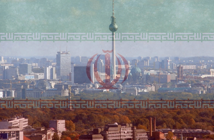 An Iranian flag imposed on the Berlin skyline [Illustrative] (photo credit: Wikimedia Commons)