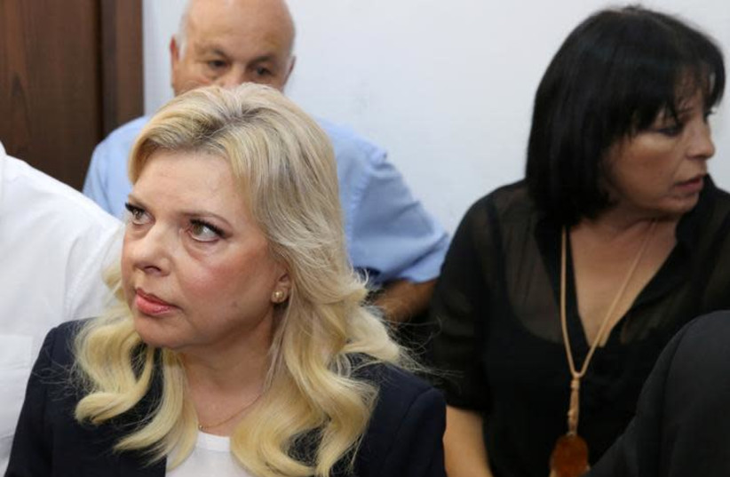 Sara, wife of Israeli Prime Minister Benjamin Netanyahu, arrives at a court hearing in the fraud trial against her (photo credit: REUTERS)