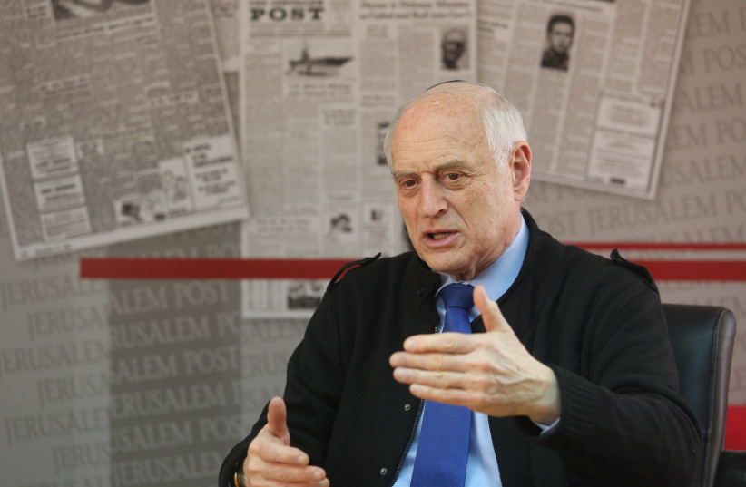 Malcolm Hoenlein, executive vice chairman of the Conference of Presidents of Major American Jewish Organizations, being interviewed for the Jerusalem Post, 2019. (photo credit: MARC ISRAEL SELLEM)