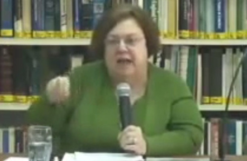Rela Mintz Geffen in a lecture on Life Cycle Rituals in Contemporary American Judaism  (photo credit: YOUTUBE SCREENSHOT)