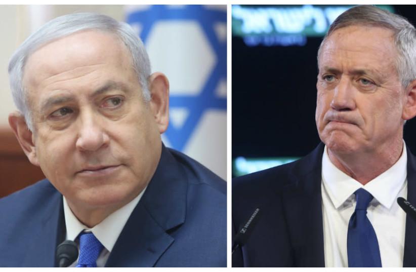 Prime Minister Benjamin Netanyahu (L) and Israel Resilience party leader Benny Gantz (photo credit: MARC ISRAEL SELLEM/THE JERUSALEM POST)