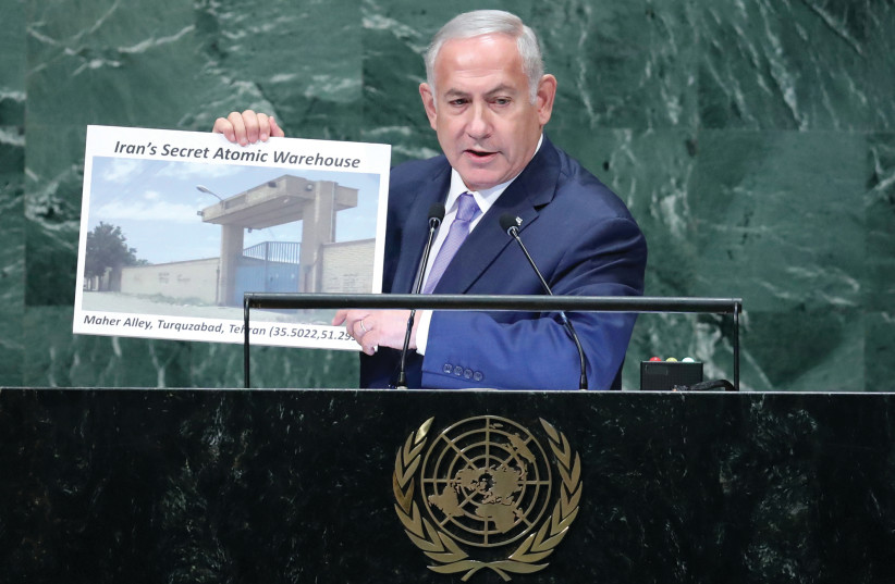 PRIME MINISTER Benjamin Netanyahu addresses the UN General Assembly in New York last year (photo credit: CARLO ALLEGRI/REUTERS)