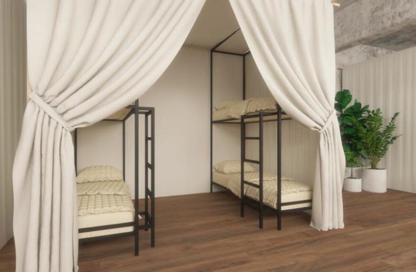An indoor tent complex at Tel Aviv's new Spot Hostel, set to open in April  (photo credit: SPOT HOSTEL)