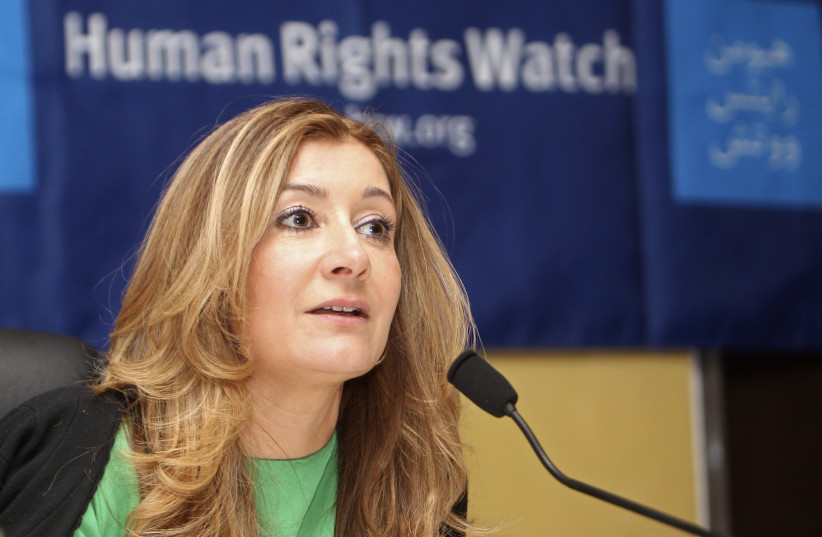 Human Rights Watch (HRW) Middle East director Sarah Leah Whitson, talks during a news conference in Doha June 12, 2012. (photo credit: STRINGER/ REUTERS)