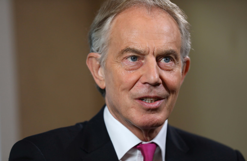 Britain's former Prime Minister Tony Blair attends an event at Thomson Reuters in London, Britain, October 11, 2018. (photo credit: REUTERS/SIMON DAWSON)