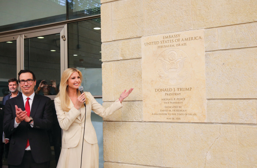 IVANKA TRUMP and Steve Mnuchin attend the inauguration of the US Embassy in Jerusalem last year.  (photo credit: MARC ISRAEL SELLEM)