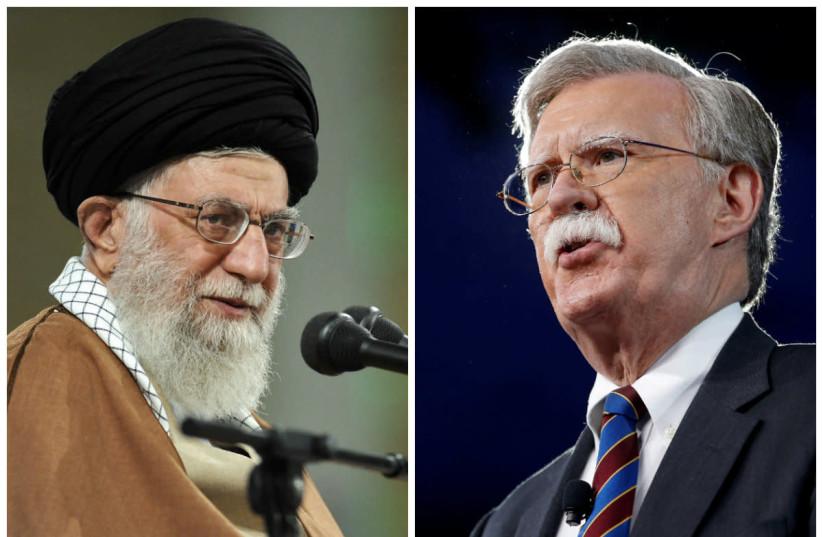 Ayatollah Ali Khamenei (L) and John Bolton (R) (photo credit: REUTERS)