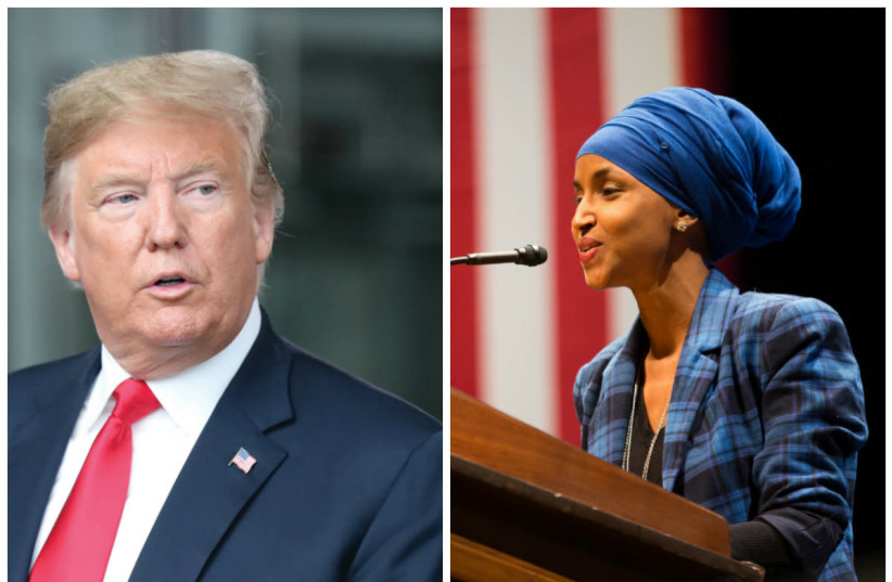 President Donald Trump (L) and Rep. Ilhan Omar (L) (photo credit: REUTERS/ WIKIMEDIA)