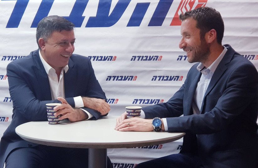 Labor leader Avi Gabbay and his new number two Itzik Shmuly have coffee Tuesday at Labor's Tel Aviv headquarters (photo credit: ITZIK ALROV)