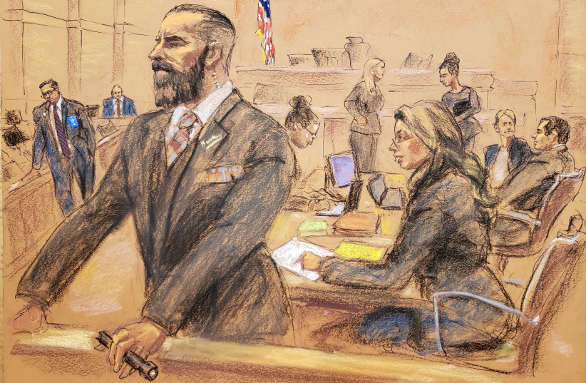 """U.S. government lawyers and U.S. Marshals are seen in this courtroom sketch, shortly before the accused Mexican drug lord Joaquin """"El Chapo"""" Guzman was found guilty of smuggling tons of drugs to the United States, in Brooklyn federal court in New York, U.S., February 12, 2019 (photo credit: REUTERS/JANE ROSENBERG)"""