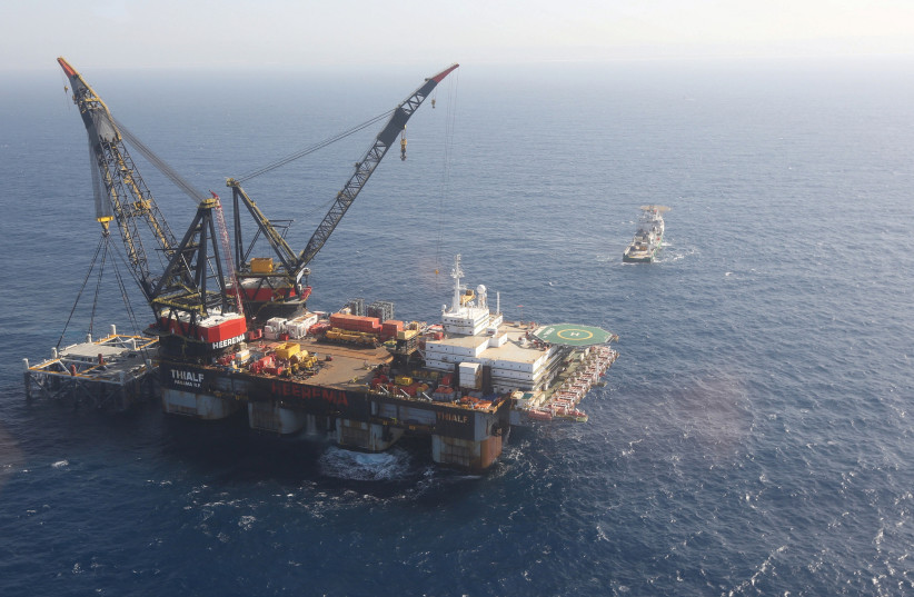 AN AERIAL VIEW shows a foundation platform of Leviathan natural gas field, in the Mediterranean Sea, off the coast of Haifa (photo credit: MARC ISRAEL SELLEM/POOL VIA REUTERS)
