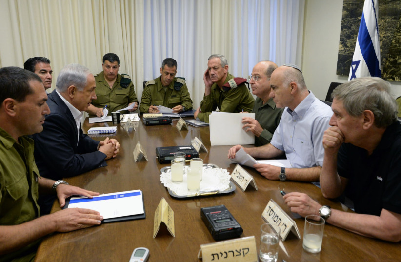 YORAM COHEN (second from right) sits down with (from right) former Mossad chief Tamir Pardo, former defense minister Moshe Ya'alon, former IDF chief of staff Benny Gantz, current IDF Chief of Staff Lt.-Gen. Aviv Kochavi, former coordinator of government activities in the territories Yoav Mordechai,  (photo credit: KOBI GIDEON/GPO)