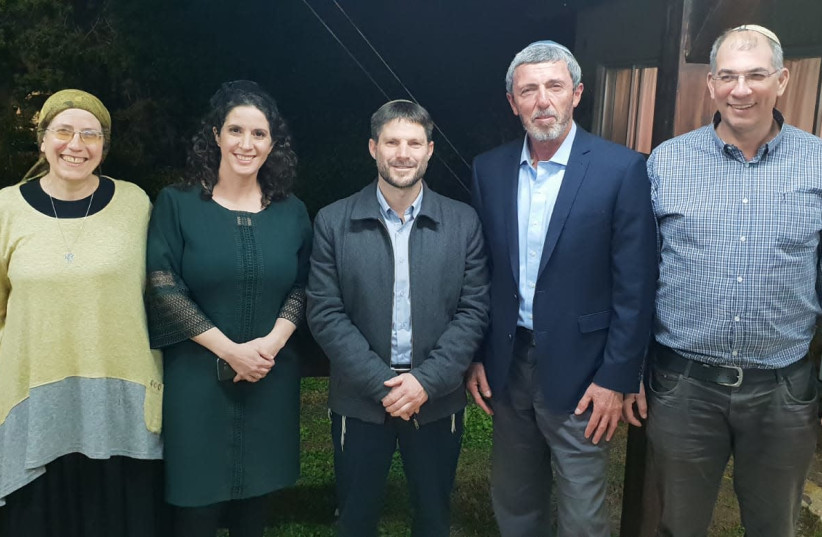 MK Orit Struck, Bayit Yehudi candidate Yifat Ehrlich, National Union chairman Bezalel Smotrich, Bayit Yehudi chairman Raffi Peretz and Bayit Yehudi CEO Nir Orbacha (photo credit: Courtesy)