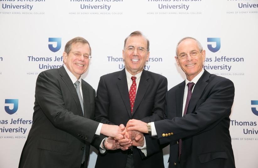 Dr. Mark Tykocinski, Dr. Ami Appelbaum and Dr. Zvi Grunwald (photo credit: COURTESY THOMAS JEFFERSON UNIVERSITY)