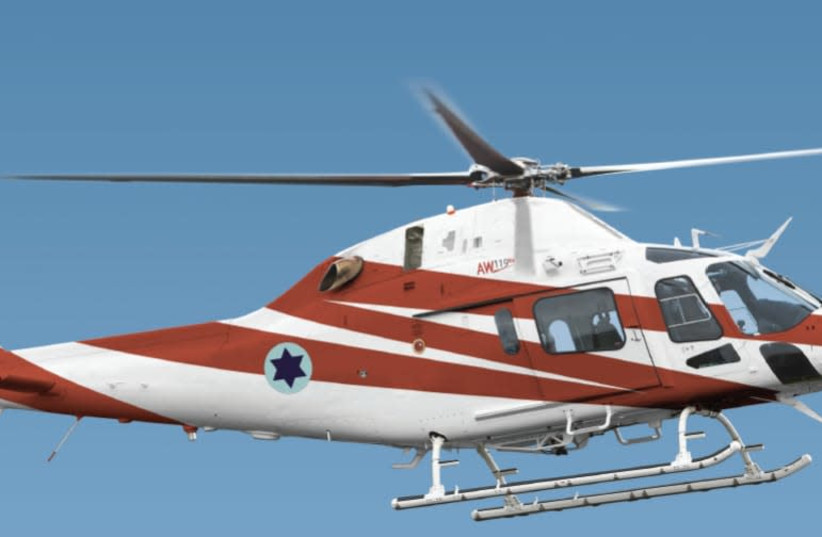 The AgustaWestland AW119 Koala, produced by Leonardo since 2016, is an eight-seat utility helicopter powered by a single turboshaft engine produced for the civil market. (photo credit: DEFENSE MINISTRY)
