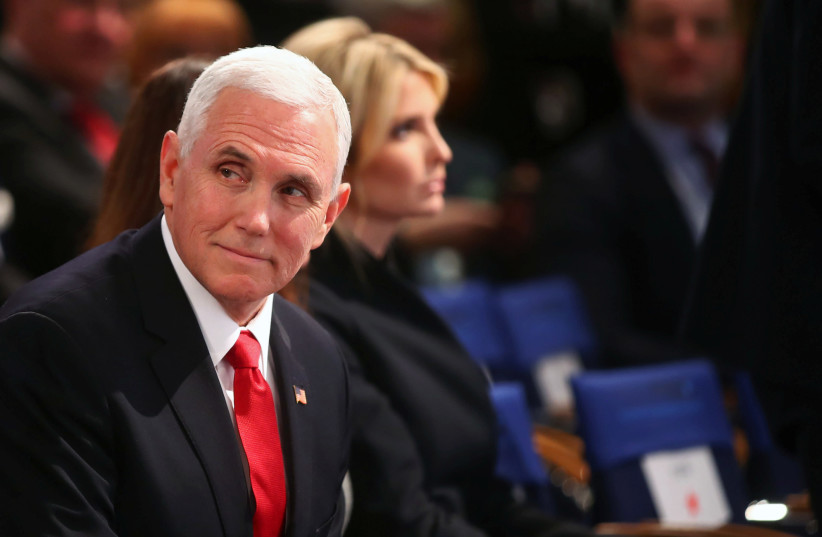 US Vice President Mike Pence at Munich Security Conference in Munich (photo credit: MICHAEL DALDER/REUTERS)