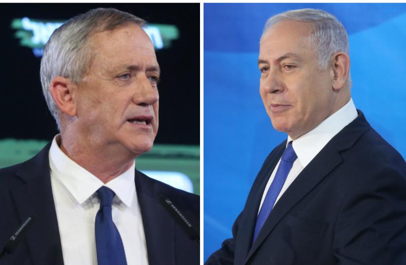 Benny Gantz (L) and Prime Minister Benjamin Netanyahu (R) (photo credit: MARC ISRAEL SELLEM/THE JERUSALEM POST)