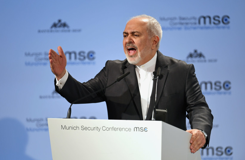 Iran's Foreign Minister Mohammad Javad Zarif speaks during the annual Munich Security Conference in Munich, Germany February 17, 2019 (photo credit: ANDREAS GEBERT/REUTERS)