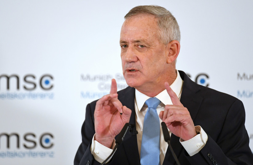 Benny Gantz speaks at the annual Munich Security Conference in Munich, Germany February 17, 2019 (photo credit: ANDREAS GEBERT/REUTERS)