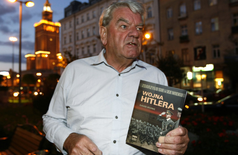 David Irving, the British Holocaust-denier, speaks to Reuters during an interview in Warsaw September 21, 2010 (photo credit: KACPER PEMPEL/REUTERS)