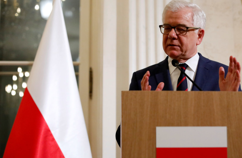 Polish Foreign Minister Jacek Czaputowicz speaks at a news conference at Lazienki Palace during U.S. Secretary of State Mike Pompeo's visit in Warsaw, Poland February 12, 2019. (photo credit: KACPER PEMPEL/REUTERS)