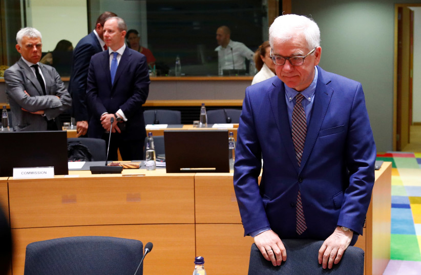 Polish Foreign Minister Czaputowicz attends a EU foreign ministers meeting in Brussels (photo credit: FRANCOIS LENOIR / REUTERS)