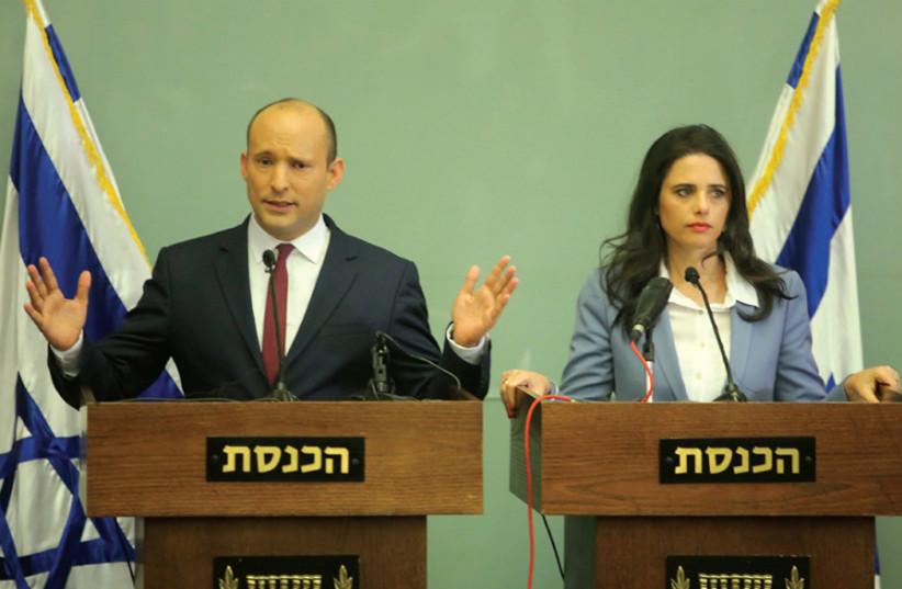 Leaders of Hayamin Hechadash Naftali Bennett and Ayelet Shaked (photo credit: MARC ISRAEL SELLEM)