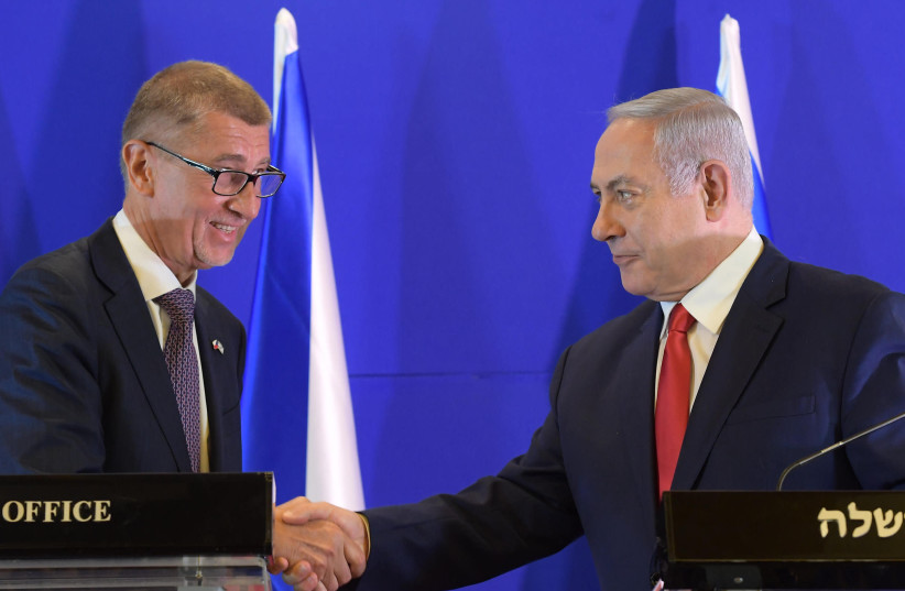 Prime Minister Benjamin Netanyahu meets with Czech Prime Minister Andrej Babiš (photo credit: BEN GERSHOM / GPO)
