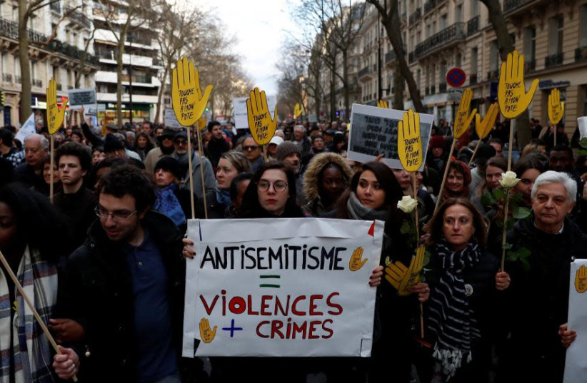 A gathering against anantisemitism in France in 2018. (REUTERS/Gonzalo Fuentes) (photo credit: REUTERS/GONZALO FUENTES)