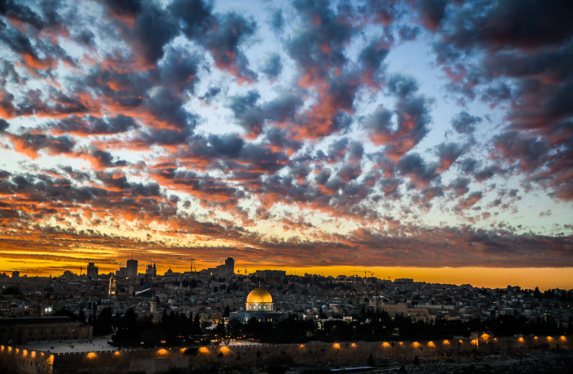 The Dome of the Rock mosque is seen during the sunset at the al-Aqsa mosque compound (photo credit: SAEED QAQ/NURPHOTO VIA AFP)