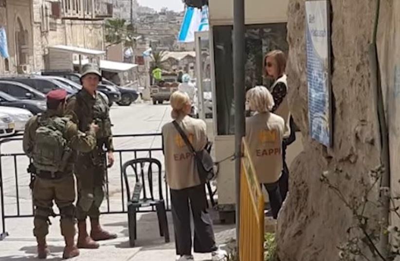 EAPPI activists in Hebron  (photo credit: YOUTUBE SCREENSHOT)