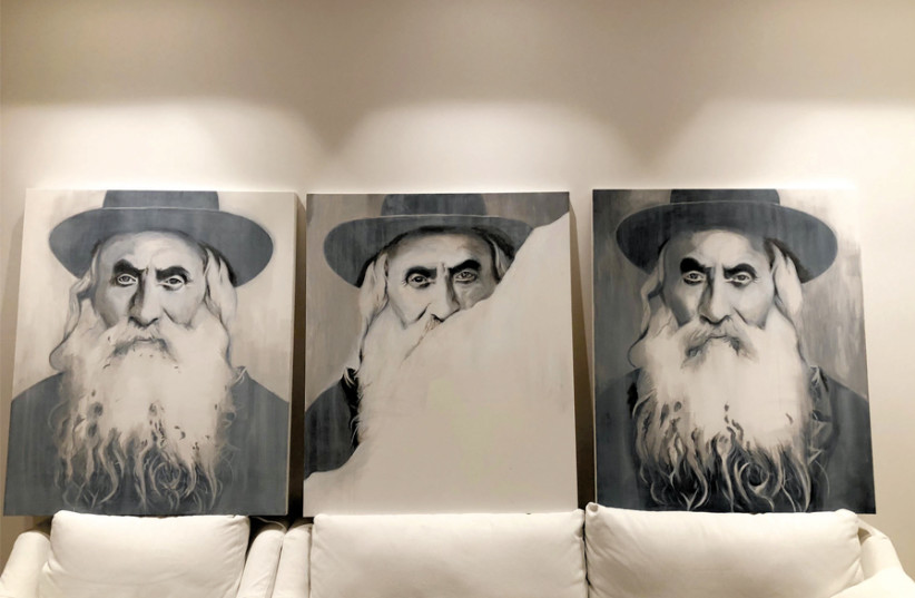FOR A bespoke recreation, artist Shemariyahu Black was provided with an original picture of the buyer's grandfather, the Dayan of Dinov. (photo credit: RAPHAEL CHAIM ROSENFELD)