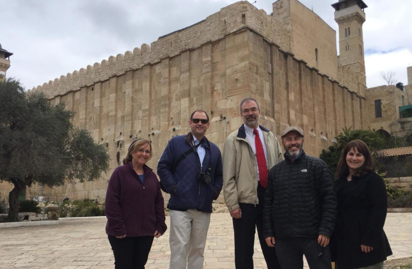 US Representatives Andy Harris (R-MD), Andy Barr (R-KY) visit the Cave of the Matriarchs and Patriarchs in Hebron February 18, 2019 (photo credit: AVI ABELOW)