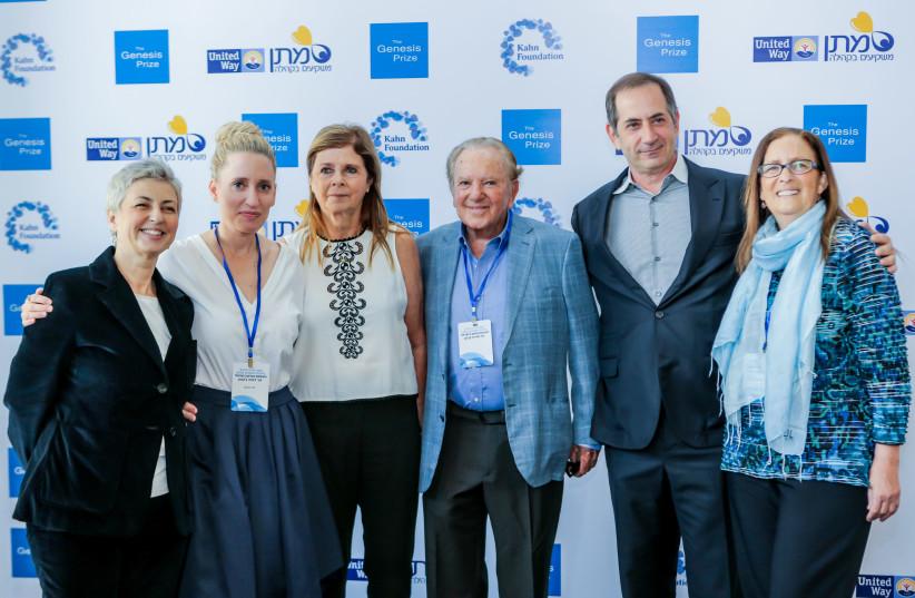 From left to right: Sana Britavsky, Deputy CEO, Genesis Prize Foundation; Dafna Jackson, CEO, Kahn Foundation; Dalia Rabin; Morris Kahn, Philanthropist; Stan Polovets, Co-founder and Chairman, Genesis Prize Foundation; Ahuva Yanai, CEO Matan United Way Israel (photo credit: Courtesy)