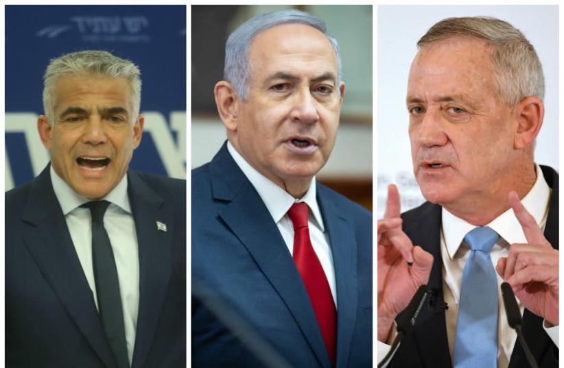 Yair Lapid, Prime Minister Benjamin Netanyahu, and Benny Gantz (photo credit: MARC ISRAEL SELLEM/THE JERUSALEM POST+EMIL SALMAN/POLL+ANDREAS GEBERT/REUTERS)