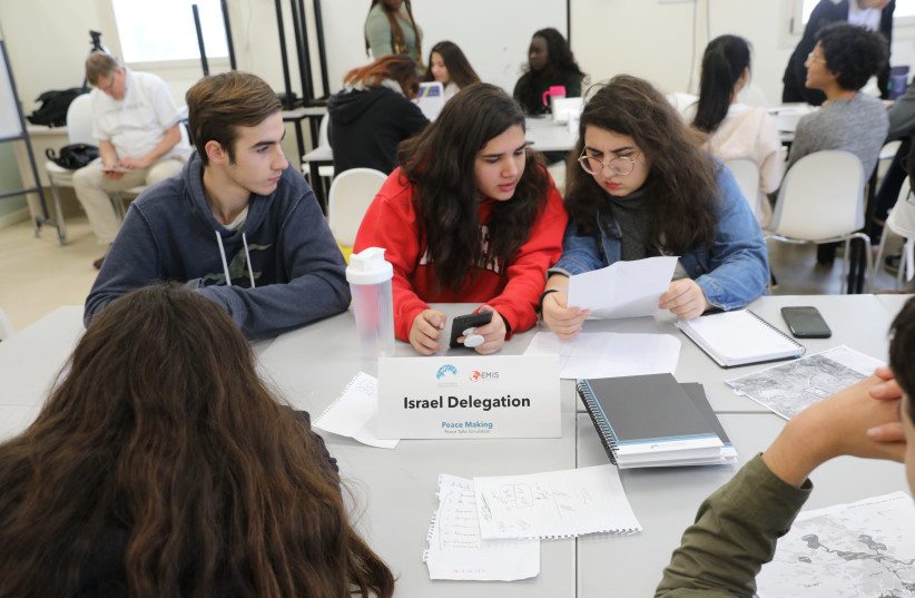 """Ninety students from around the world take part in a """"peace-process"""" simulation (photo credit: Courtesy)"""