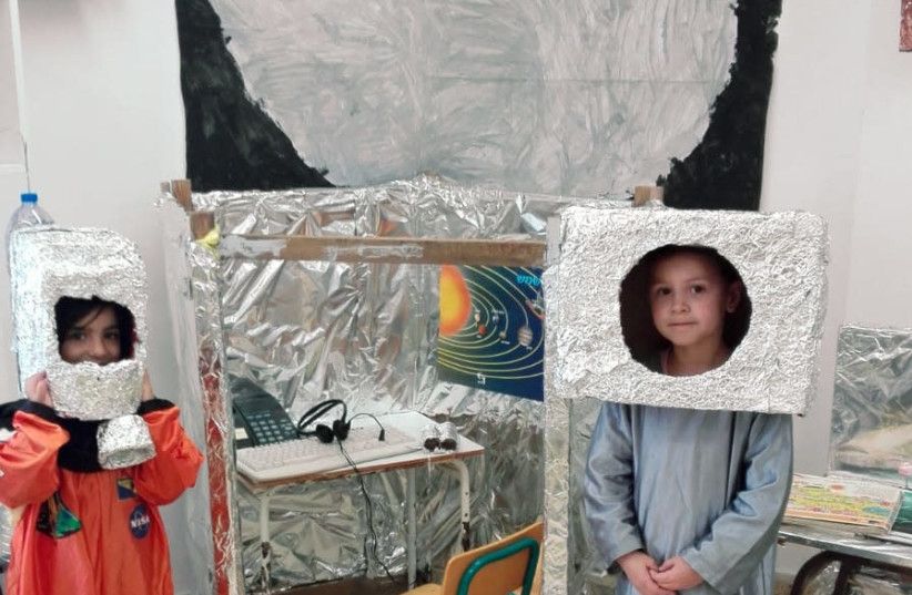 The Arava kindergarten of Ariel children get ready to fly to the moon (photo credit: Courtesy)