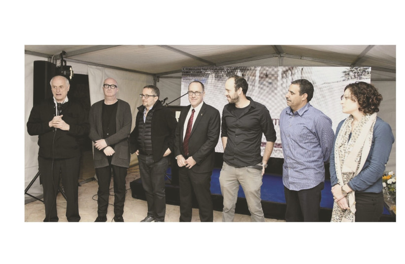 Malcolm Hoenlein, COP Executive Vice President, Avi Balishnakov, Arthur Stark, COP Chairman, Prof. Daniel Chamovitz, President, Ben Gurion University, Matan Yaffe, Dr. Muhammad Al-Nabari, Co-Founders, Desert Stars, Tamar Gil, R&D Director, Eretz Ir (photo credit: AVI HAYUN)