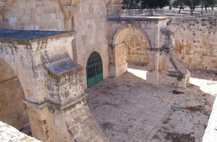 The Gate of Mercy, or Shaar HaRachamim in Hebrew, also called the Golden Gate, as seen from inside the Temple Mount complex (photo credit: Wikimedia Commons)