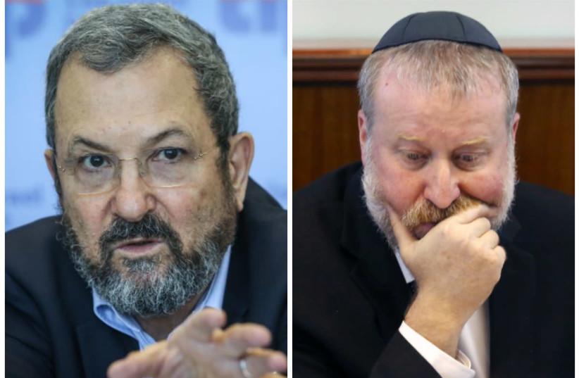 Former Prime Minister Ehud Barak and Attorney-General Avichai Mandelblit (photo credit: MARC ISRAEL SELLEM/THE JERUSALEM POST)