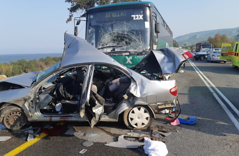 The aftermath of a serious accident between an Egged bus and a private vehicle on Route 92 in northern Israel on Sunday morning (photo credit: ISRAEL POLICE)