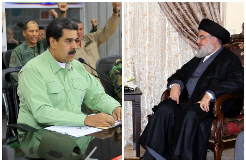 Nicolas Maduro (L) and Hassan Nasrallah (R) (photo credit: REUTERS)